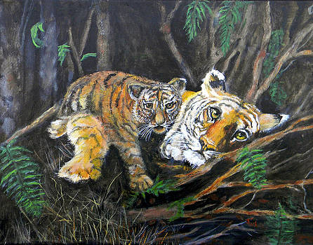 Bangel Tiger with Cub by Judie White