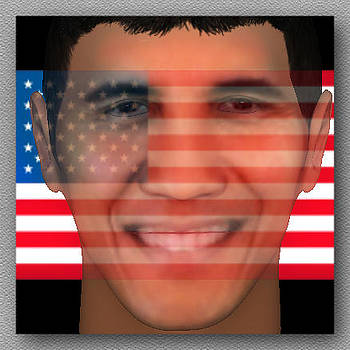Barack Obama 3D Face  by Museum Quality Prints -  Trademark Art Designs