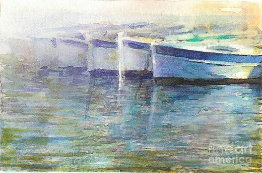 Barcas En Muelle by Jose Maria Diaz Ligueri