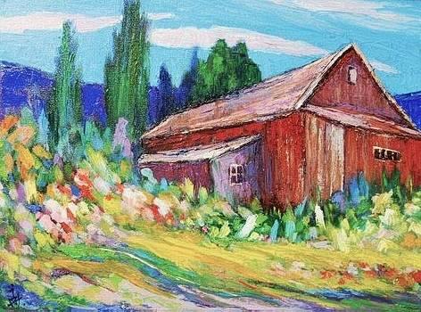 Barn and flowers by Siang Hua Wang