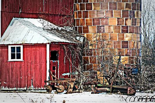 Barn and silo by Cheryl Cencich