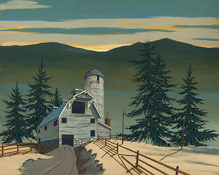 Barn and Silo by John Wyckoff