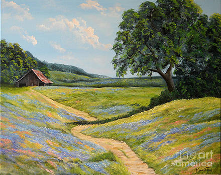 Barn and Texas Wildflowers by Connie Tom