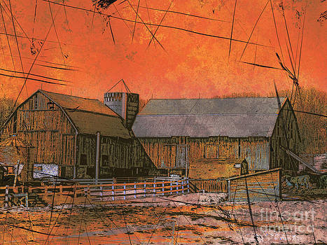 Barn at Sunset by Claire Bull
