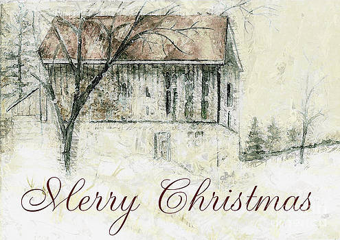Barn in Snow Christmas Card by Claire Bull