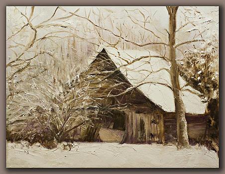 Barn in snow by Kathy Knopp