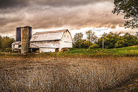 Ron Pate - Barn Silos Storm Clouds