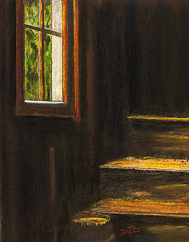 Sunlight on Barn Stairs by Dorothy Banker