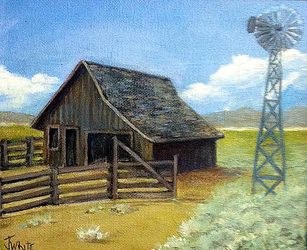 Barn with Windmill by Judie White