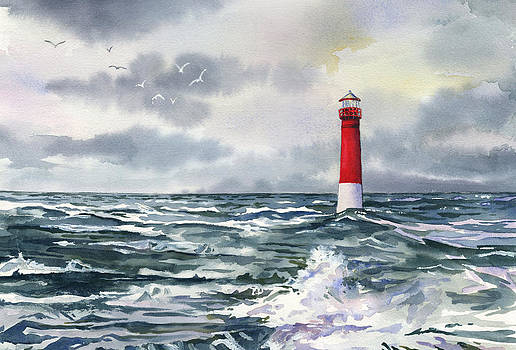 Barnegat Lighthouse on Stormy Sea by Beth Kantor