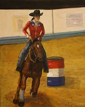Barrel racer by Larry Lamb