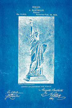 Ian Monk - Bartholdi Statue of Liberty Patent Art 1879 Blueprint