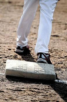Baseball boy on base by Tammy Abrego