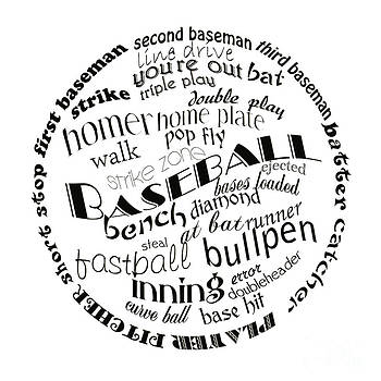 Andee Design - Baseball Terms Typography Black And White