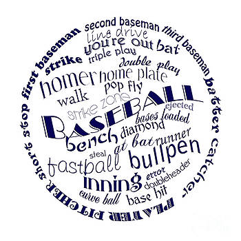 Andee Design - Baseball Terms Typography Blue On White
