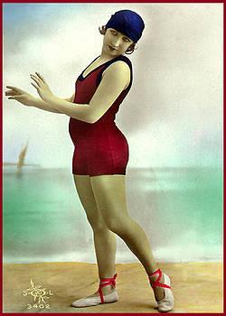 Denise Beverly - Bathing Beauty in Deep Red Bathing Suit