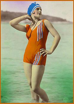 Denise Beverly - Bathing Beauty in Orange Bathing Suit