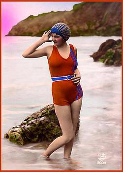 Denise Beverly - Bathing Beauty in Patriotic Bathing Suit