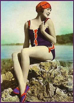 Denise Beverly - Bathing Beauty in Purple Bathing Suit