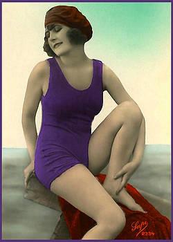 Denise Beverly - Bathing Beauty in Purple wearing beret