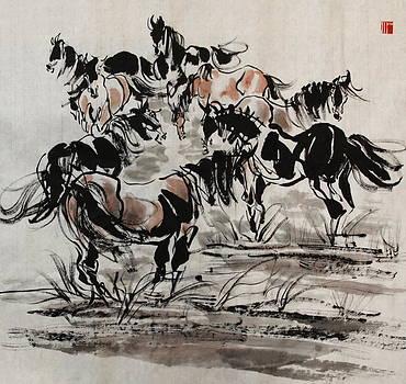 Bathing In The Spring by Xiaochuan Li