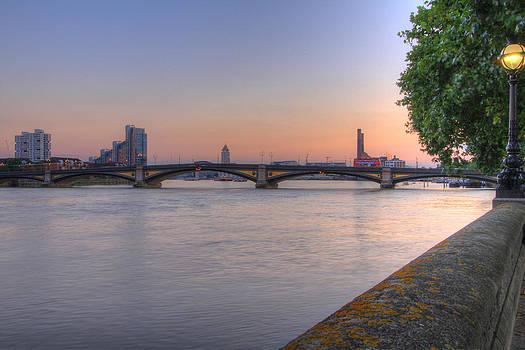 David French - Battersea Bridge at night Dusk