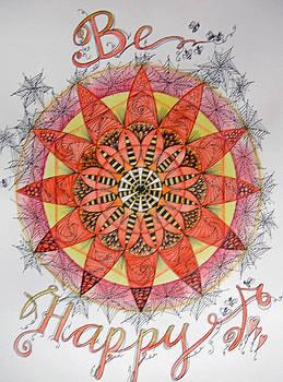 Be Happy Mandala by Andrea Thompson