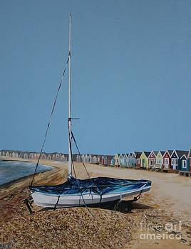 Beach Huts and Boat on the Spit by Linda Monk