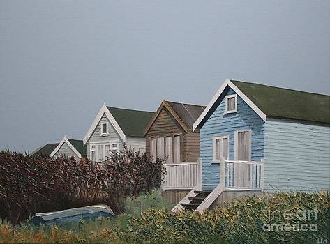 Beach Huts in a Row by Linda Monk