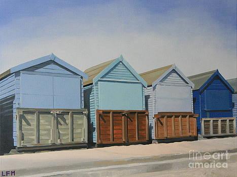 Beach Huts on Promenade by Linda Monk