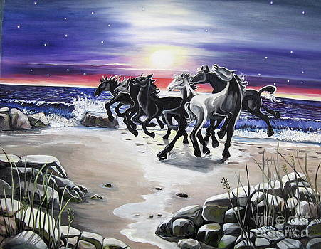 Beach Ponies by Toni  Thorne