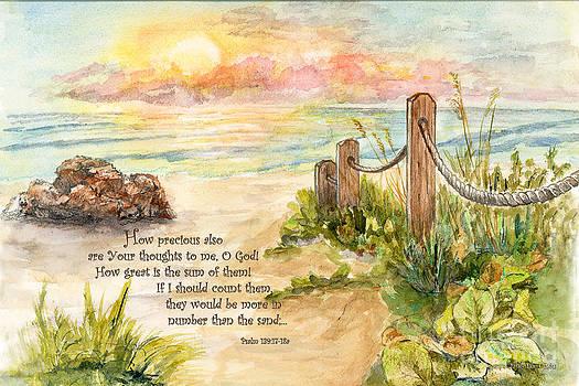 Beach Post Sunrise Psalm 139 by Janis Lee Colon