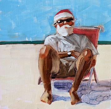 Beach Santa Chillin by Debbie Miller