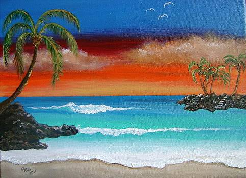 Beach sunset with palms by Patsi Stafford