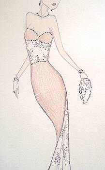Beaded Cream Gown II by Christine Corretti