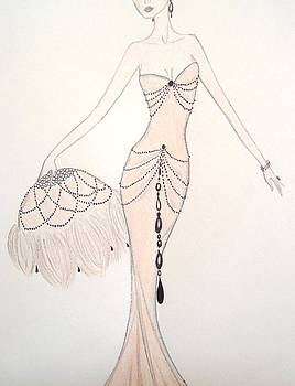 Beaded String Gown by Christine Corretti