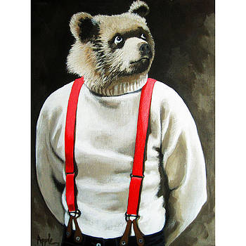 Bear With Me - animal portrait  by Linda Apple