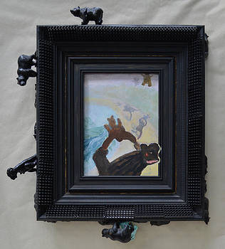 Bears Teaching Baby Bears How to Fly - Framed by Nancy Mauerman