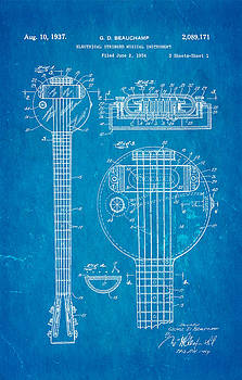 Ian Monk - Beauchamp First Electric Guitar Patent Art 1937 Blueprint