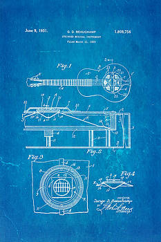 Ian Monk - Beauchamp National Guitar Patent Art 1931 Blueprint