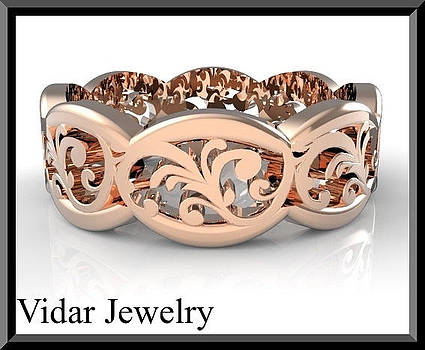 Beautiful 14k Rose Gold Leaf Woman Wedding Ring by Roi Avidar