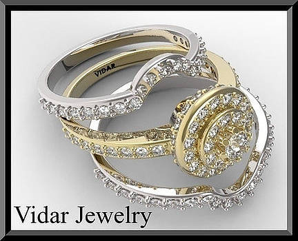 Beautiful 14k Yellow And White Gold Diamond Wedding Ring Set by Roi Avidar