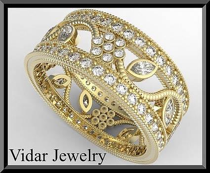 Beautiful 14k Yellow Gold Diamond Flower Woman Wedding Ring by Roi Avidar