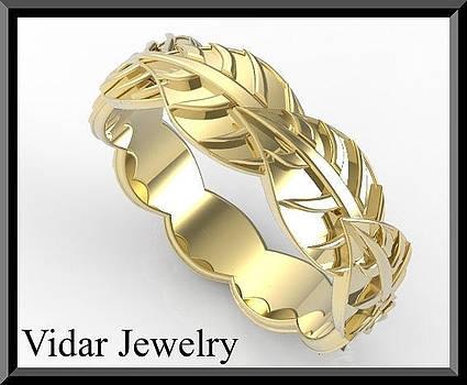 Beautiful 14k Yellow Gold Leaf Woman Wedding Ring by Roi Avidar