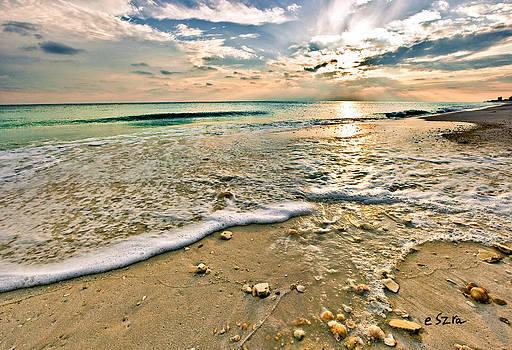 Beautiful Beach Blue Sea Sunset by Eszra Tanner