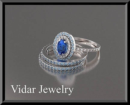 Beautiful Blue Sapphir And Diamonds 14k White Gold Wedding Ring Set by Roi Avidar