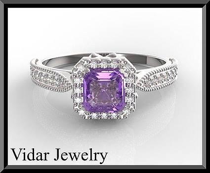 Beautiful Emerald Cut Purple Amethyst And Diamond Engagement Ring by Roi Avidar