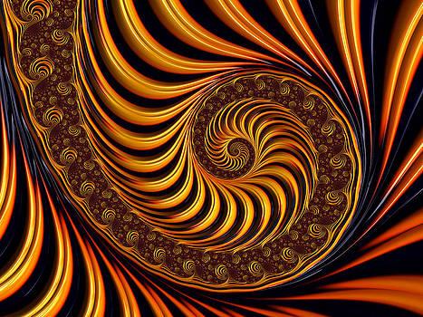Beautiful golden fractal spiral artwork  by Matthias Hauser