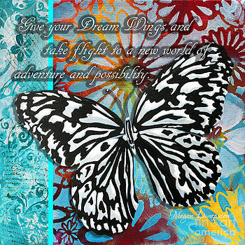 Beautiful Inspirational Butterfly Flowers Decorative Art Design With Words GIVE YOUR DREAM WINGS by Megan Duncanson