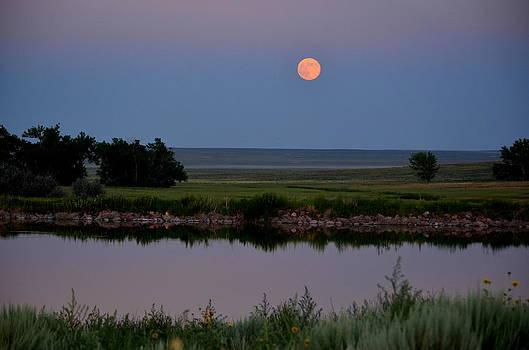 Beautiful Moon Over Kinney Lake by Clarice  Lakota